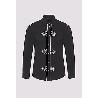 Sami collar de manga larga bordado hombres's camisa en negro