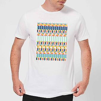 Candlelight Funky Colourful Three Dimensional Checkered Pattern Men's T-Shirt - White