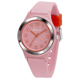 SINAR reloj joven reloj de pulsera analógico cuarzo chica silicona cinta XB-48-9 rosa naranja