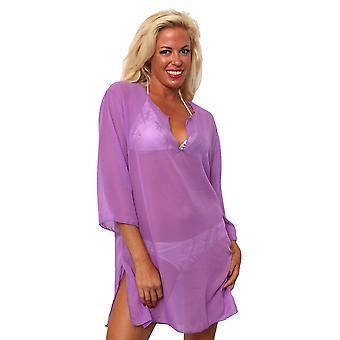 Plus Size Chiffon Long Sleeve Beach Dress