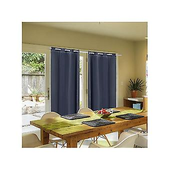 2Pcs 3 Layers 140X213Cm Blockout Curtains With Soft Gauze Black Colour