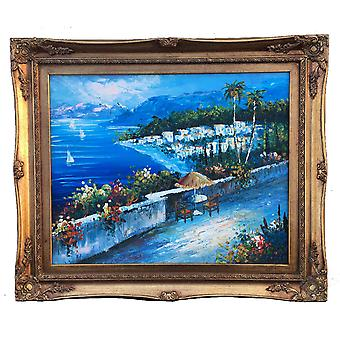 Mediterranean, oil painting with frame, 40x50 cm