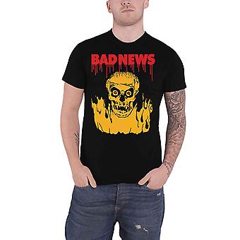 Bad News T Shirt Fireskull Band Logo Comic Strip new Official Mens Black