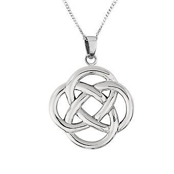 Celtic Eternity Round Knotwork Necklace Pendant Large - Inclut 18'quot; Chaîne
