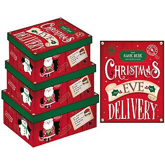 Eurowrap Christmas X-Long Oblong Christmas Eve Boxes (Pack of 3)