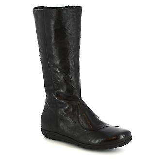 Leonardo Shoes Women's handmade boots in black calf leather with side zip