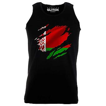 Reality glitch torn belarus flag mens vest