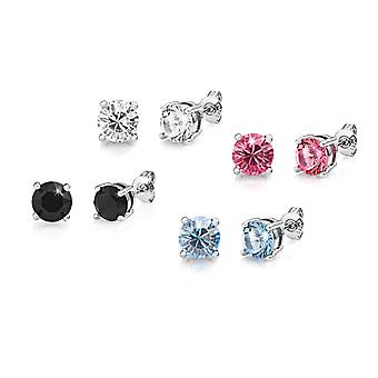 Four pairs of round earrings created with swarovski® crystals