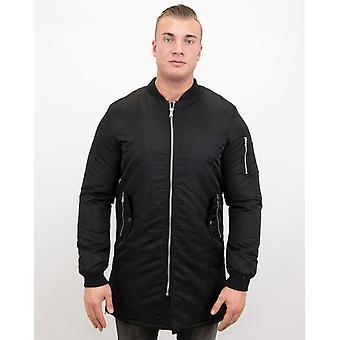 Bomber Jacket Lang - Winterjas Parka - Urban Bomber Jacket - Black