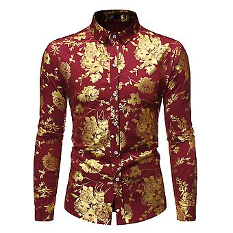Allthemen Herre casual slim fit firkantet hals T-shirt revers langærmet guld trykte blomster trykning skjorte