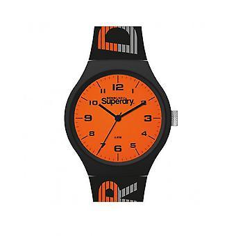 Superdry Watch SYG269BO - Urban XL Racing Round Case in black plastic dial orange black silicone bracelet