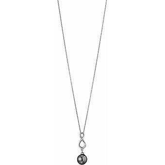 Adriana necklace with pendant silver rhod. Tahiti black 9-10mm Premium PR4-48