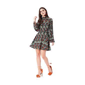 Goddiva Floral Print Smock Mini Dress With High Neck