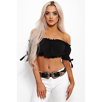 Lila Tie Sleeve Bardot Crop Top