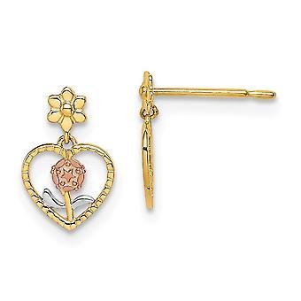 14k Madi K med ros och vit rodium dingla Post Örhängen Smycken Gåvor för kvinnor - 0,6 gram