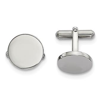 17.03mm Stainless Steel Polished Circle Cuff Links Jewelry Gifts for Men