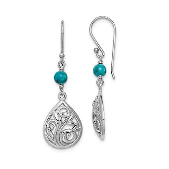 925 Sterling Silver Rhodium plated Compressed Simulated Turquoise Cubic Zirconia Long Drop Dangle Earrings Jewelry Gifts
