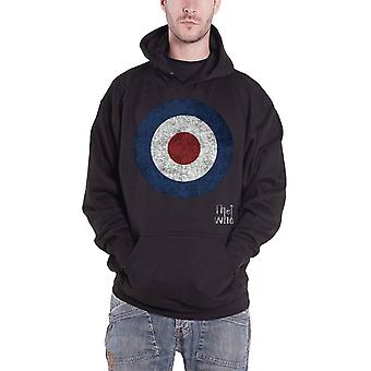 The Who Hoodie Distressed Target Band Logo Official Mens New Black Pullover