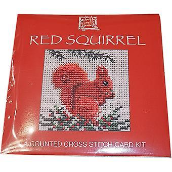 Tekstiili perinnön laskettu risti pisto punainen orava kortti Kit