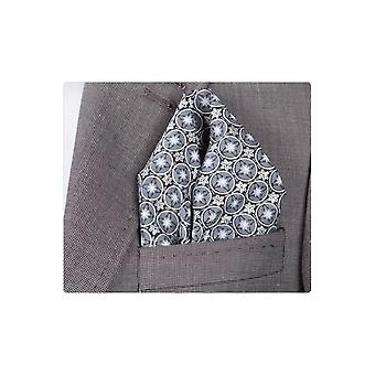 JSS Grey And Black Circle Pocket Square