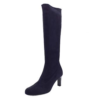 Peter Kaiser Levke Pull On Stretch Knee High Boots In Navy Suede