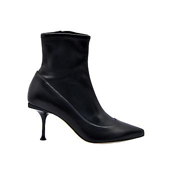 Sergio Rossi A85190maf7151000126 Women's Black Leather Ankle Boots