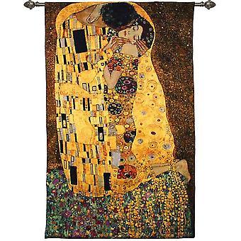 Gustav klimt - the kiss wall hanging by signare tapestry / 90cm x 138cm / wh-gk-ks