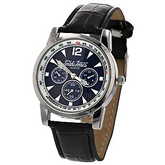 Smith & Jones Gents Navy Dial Chrono Effect Black Patent PU Strap Watch JON07C