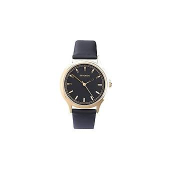 Sekonda Mens Sekonda Black Dial Black Leather Strap Watch 3141