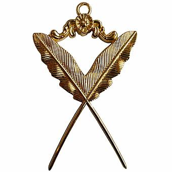 Masonic gold collar jewel - secretary