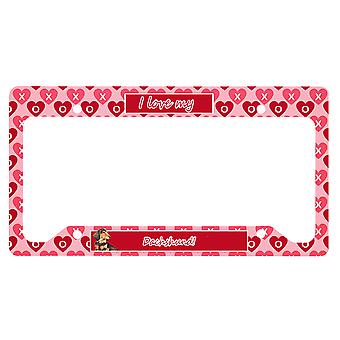 Carolines Trésors LH9166LPF Dachshund Valentine-apos;s Love and Hearts Licence Pla