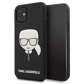 KARL LAGERFELD Iconic Boss Glitter Backcase Hoesje iPhone 11 - Zwart