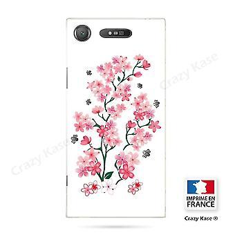 Rumpf für Sony Xperia Xz1 Flexible Muster Blumen De Sakura auf weißem Hintergrund