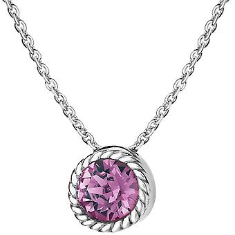 KJ Beckett fevereiro Birthstone Swarovski Crystal colar - prata/roxo