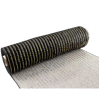 Metallic Black & Gold 25cm x 9.1m Deco Mesh Roll for Wreath Making & Floristry Crafts