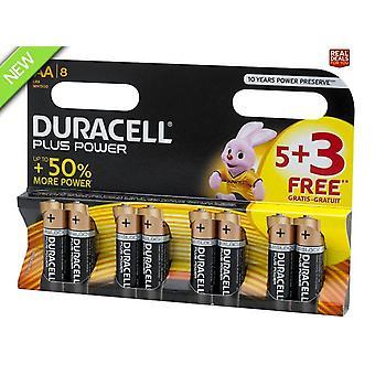 Duracell Plus Power AA Baterii (Pack 5 + 3 gratuit)