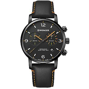 Wenger Metropolitan Chronograph Black Dial Brown Leather Strap Men's Watch 01.1743.114