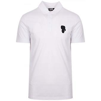 Lagerfeld White Tonal Rubber Logo Polo Shirt