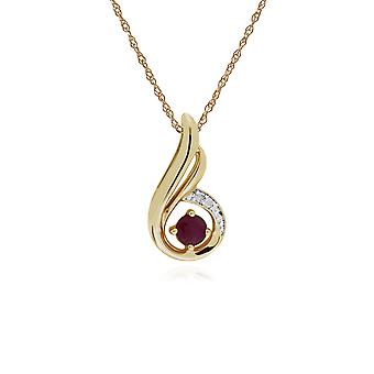 Classic Round Ruby & Diamond Spiral Drop Pendant Necklace in 9ct Yellow Gold 135P1847029