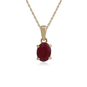 Classic Oval Ruby Claw Set Single Stone Pendant Necklace in 9ct Yellow Gold 135P0025289