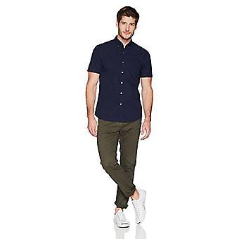 Goodthreads Men's Slim-Fit Kortärmad Dobby Shirt, Marinblå/Röd, X-Large