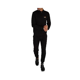 EA7 by Emporio Armani Funnel Neck Zip Black/gold Cotton Tracksuit