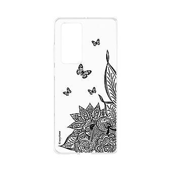 Hülle Für Huawei P40 Weich Mandala Blume und Schmetterling Schwarz