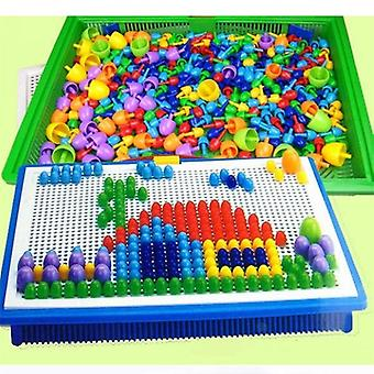 296 Pieces/set Box/packed Grain Mushroom Nail Beads- Intelligent 3d Puzzle Games Jigsaw Board For Children Kids Educational Toys