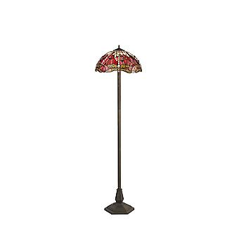2 Light Octagonal Floor Lamp E27 With 40cm Tiffany Shade, Purple, Pink, Crystal, Aged Antique Brass