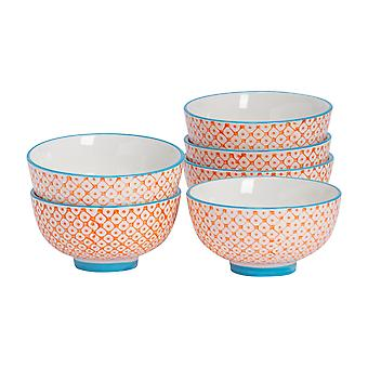 Nicola Spring 6 Piece Hand-Printed Rice Bowl Set - Orange - 12cm