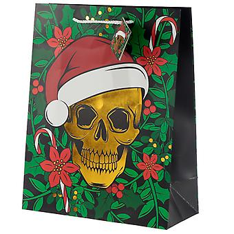 Metallic Skulls Large Christmas Gift Bag