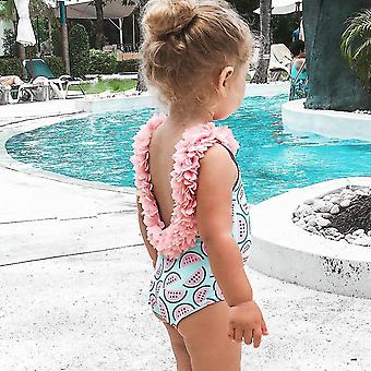 Family Matching Suits Toddler, Infant Baby Watermelon Swimsuit- 3d Flower