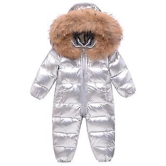 冬の赤ちゃんスノースーツリアルファー、防水、冬のジャンプスーツ