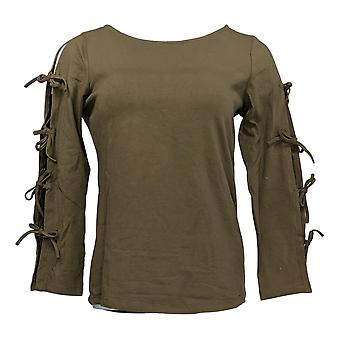 Women With Control Women's Top Bow Sleeve Detail Green A306466